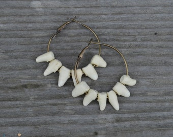 Antique Brass Hoops with  Ceramic Points