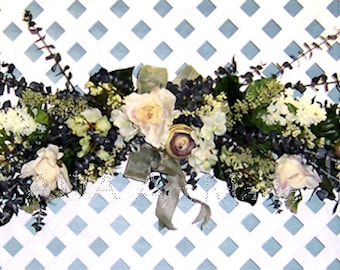 Floral Eucalyptus Swag Shades of White Green Plum Shown 145 USD Custom Made Easy U PICK Style Type Color Starting @ 45, Customize Weddings