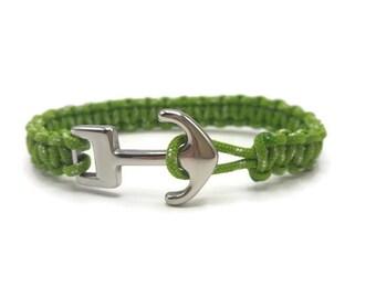 Men anchor bracelet stainless steel and paracode-green - gift for him - gift men - B048
