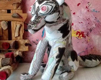 Hand knitted Wolf toy - soft toy, plush toy, stuffed toy, home decor