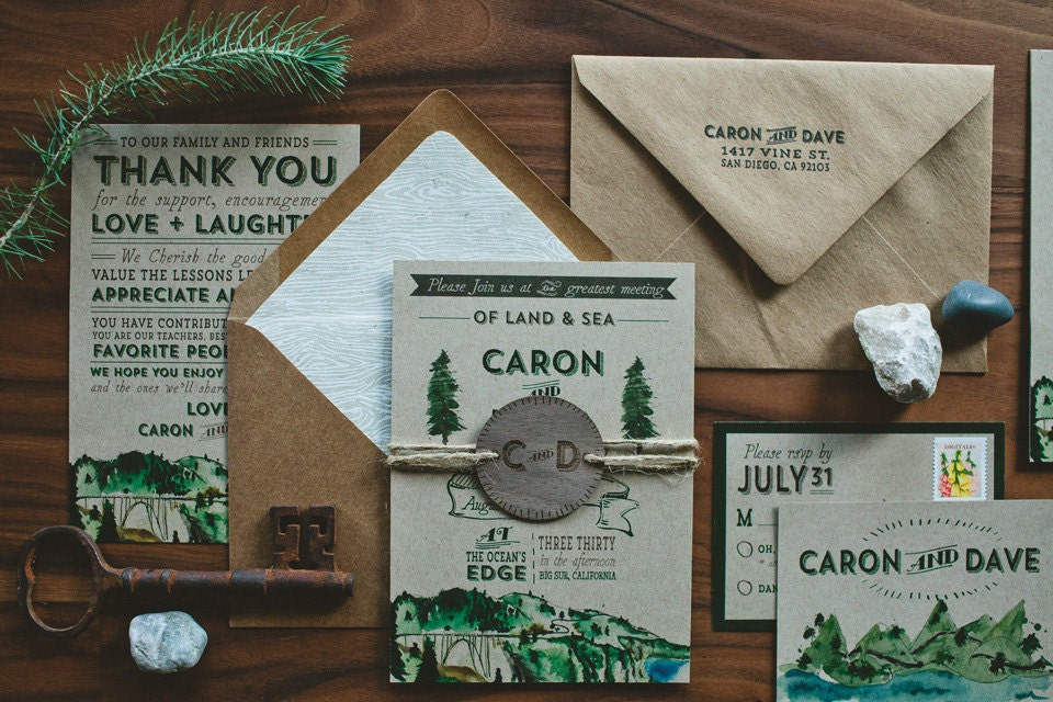 Rustic Woodland Water Color Wedding Invitation Land and Sea