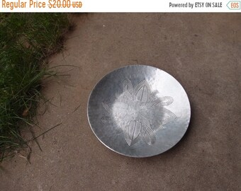 SALE SALE SALE Vintage Bowl Metal Silver Tooled Design Medieval Goth Geometric Ethnic Hand Stamped Unique Home Decor
