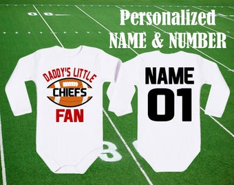 Chiefs baby etsy chiefs bodysuit daddys little chiefs fan customized personalized name number funny kansas city baby child boy negle Choice Image