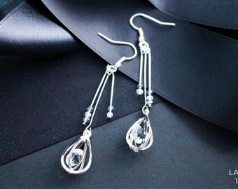 Silver Rain - Tear Drop Earrings
