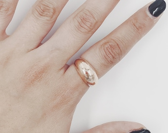 Gold Ring 14K Solid Gold Ring Thick Gold Ring Gold Wedding Band Wide Gold Band Rose Gold Band