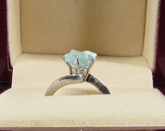 Real Raw Aquamarine Ring, Rough Aquamarine Ring, 2.00 Carat Uncut Aquamarine Ring, Anniversary Ring, Engagement Ring, Wedding Ring