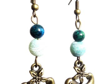 Earrings dangling bird (Brown, green and blue) ethnic style