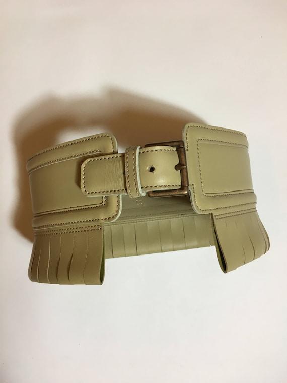 ALAIA 1980's beige leather corset belt