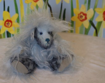 Shaggy multi blues mohair bear