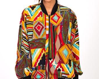 The Vintage Multicolor Rhinestone Aztec Bomber Jacket