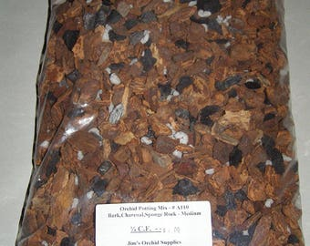 Orchid Potting Mix --- Medium Orchid Bark with Charcoal & Sponge Rock. 1/4 Cubic Foot Bag.