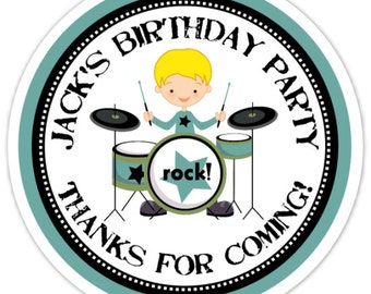 Boys Rock - Custom Rock and Roll Birthday Labels, Boys Rock Stickers - Personalized for YOU