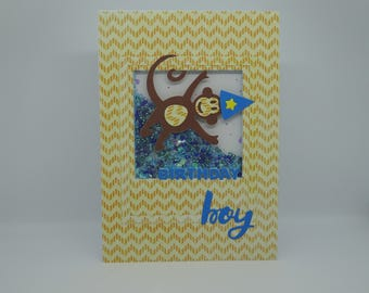 Birthday Boy Handmade Card, Shaker Card, Monkey Card, Bead & Glitter Shaker, Cute Monkey Card, Zig Zag Card