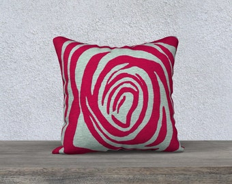 Red rose motif cushion cover, rose print pillowcase, red and gray decor, floral print throw pillow cover, Felicianation Ink