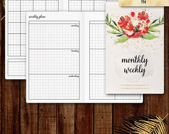 Pocket TN inserts | WEEKLY planner printable, week on two pages (tn pocket inserts,  travelers notebook, field notes inserts)