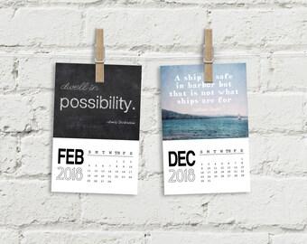 Inspirational calendar, 4x6 desk calendar, quotes calendar, motivational calendar, 2018 calendars, office calendar, office decor, gifts