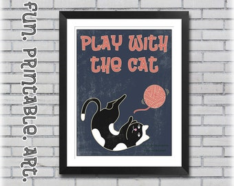 Cat Illustration - Home Decor - Printable Wall Art - Play With The Cat Print - Digital Download - Cat Art Print - Digital Art Print