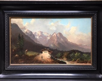 Romantic Alpine Oil Painting 19th Century on Canvas