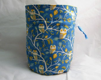 Owl Project Bag. Small Drawstring bag ideal for knitting or crochet projects