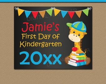 Printable First Day of Kindergarten Sign, Chalkboard Sign, First Day of School EDITABLE Back to School Sign, First Day Print, Teacher Sign