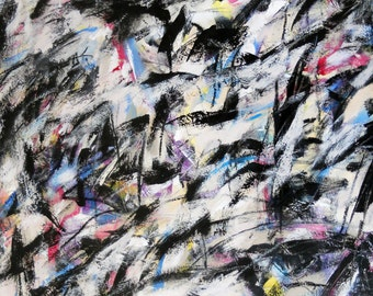 Untitled 3-14-13 (LARGE abstract expressionist painting, black, white, cream, gray, red, blue, yellow)