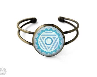 Throat Chakra Vishuddha Cuff Bracelet | Throat Chakra Bracelet, Chakra Bracelet, Bangle, Chakra Jewelry, Boho Jewelry, Watercolor, Mandala