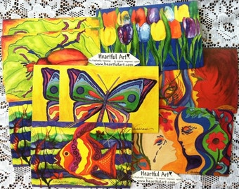 10 POST CARDS of Fish Bug Butterfly Tulips Women Couple Friends Family Children Scarab Beetle Kids Mail Heartful Art by Raphaella Vaisseau