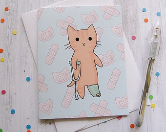 Get Well Card Cat Card Leg Cast Ginger Cat Boo Boo Kitty Injury Well Wishes Get Well Soon Greeting Card Cute Cat Card Sick Child Illness