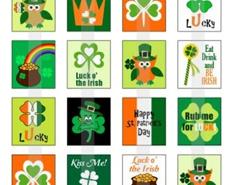 Happy St Pattys Day - one 4x6 inch digital sheet of scrabble size (0.75 x 0.83 inches) images for scrabble tiles