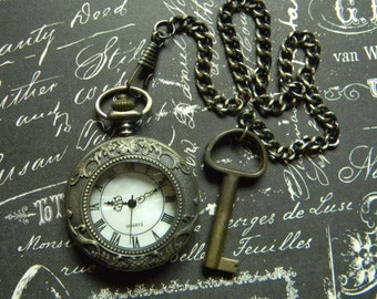 NeoVictorian Inspired Pocket Watch and Chain with Antique Key Fob