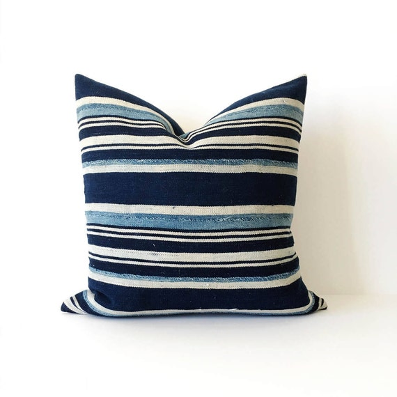 18 x 18 Ivory and Indigo Striped Pillow Cover