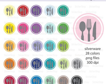 Silverware Eating Utensils Digital Clipart - Instant download PNG files