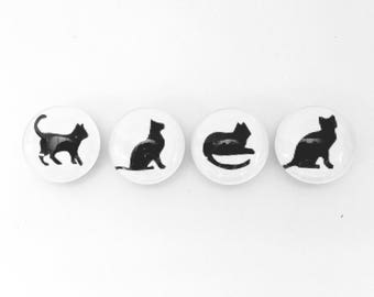 Good Kitty- Black and white silhouettes - Set of 4 (you choose magnets or push pins) - perfect gift for cat lover- pet sitter