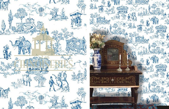Dollhouse Miniature Wallpaper, Good Fortune, Scale One Inch