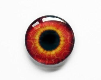 25mm handmade glass eye cabochon - red / orange eye - standard profile