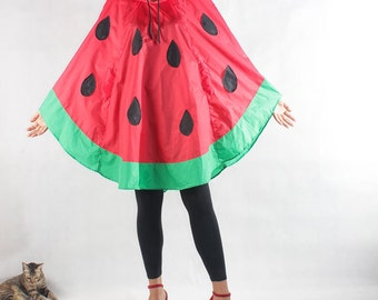 Watermelon waterproof Rain Poncho,Cape with Hood, Nylon Rain Jacket, Red with Free Watermelon bag.