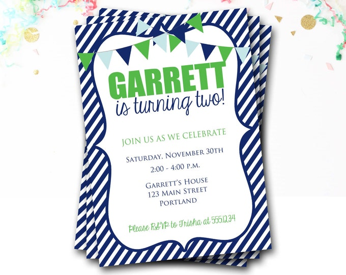 Navy And Green Birthday Invitation, Preppy Invitation, Bunting Invitation, Flag Invite, First Birthday Party, Boy Invitation, DIY Printable