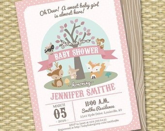 Woodland Baby Shower Invitation Woodland Animals Little Deer Baby Shower Invite Baby Boy Baby Boy Gender Neutral Sip and See Diaper Shower