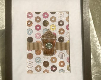 Starbucks Coffee inspired with donuts  framed art - Coffee break kitchen art