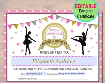 Participation etsy editable dancer certificate instant download dancing award dancer printable participation award sports yadclub Gallery