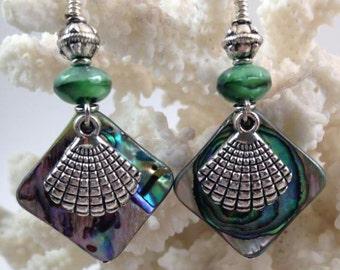Abalone Shell Earrings - Beach Earrings - Natural Shell Earrings - Czech Glass Earrings - Green and Silver Earrings - Shell Earrings - Ocean