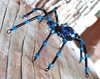 Beaded Spider - Ring, Hair Bobby Pin, Lapel Pin or  Halloween Decoration, Dark Aqua and Black Beaded by Smash Gardens on Etsy, Spider