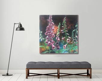large painting, original painting, plant painting, green painting, botanical art, contemporary painting, foxgloves painting , large canvas
