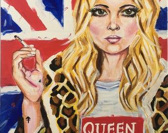 I am My Own Queen.   Pop art, pop culture, acrylic, canvas, Kate Moss