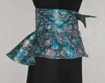 Perfect For A Wedding Teal and Gold Metallic Brocade Obi Sash With Peplum Turquoise and Gold Metallic Brocade Obi Sash Peplum