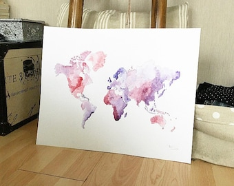 World violet watercolor drawing map
