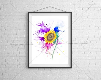 SunFlower - Watercolor - Digital - Printable