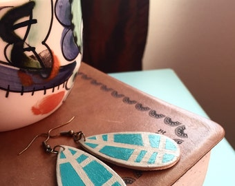 Teardrop Earrings | Leaf Earrings | Feather Earrings | Wooden Jewelry | Leaf Wood Earrings | Hand Painted Earrings