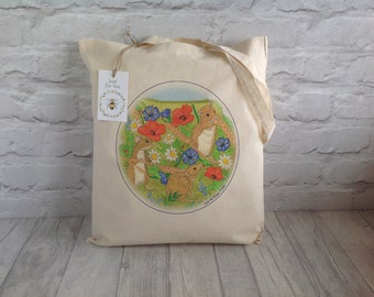 Tote Bag / Mouse Tote Bag / Shopping Bag / Cotton Tote / Eco Tote Bag / Farmers Market Bag / Mouse Art / Reusable bag / Mother's Day Gift