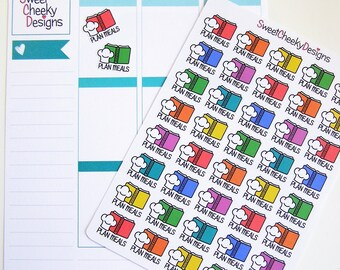 Cute Plan Meals/Meal Planning Stickers!  Perfect for Erin Condren Life Planner, MAMBI/Happy Planner, Plum Planner, Etc.